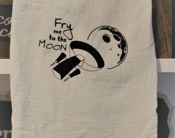 Fry Me to the Moon Tea Towel