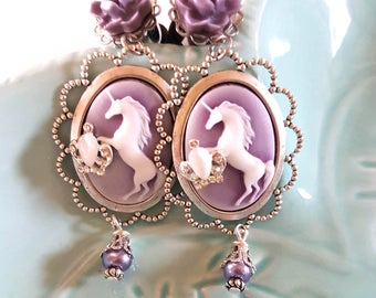 00g 10mm Royal Unicorn Cameo Dangle Plugs for Stretched Ears-Piercing-Surgical Steel-316L-Fashion-Wedding Plugs-Fancy Girly Plugs