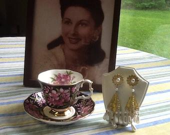 PEARL FILIGREE DANGLE pierced earrings vintage