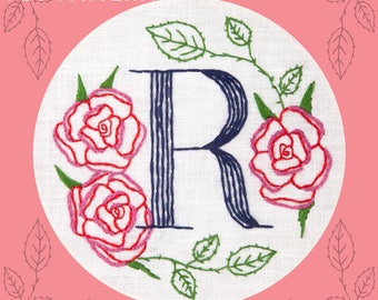 Monogram Flower PDF Pattern - R is for Rose