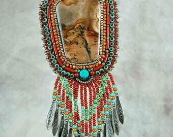 Necklace, Beaded, Bead embroidered, Biggs jasper, red jasper, turquoise,  Embroidered Necklace