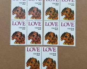 Vintage unused postage stamps - puppy love, 22c, 10 stamps