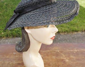 1930s Vintage Black Straw and Horse Hair Wide Brim Hat