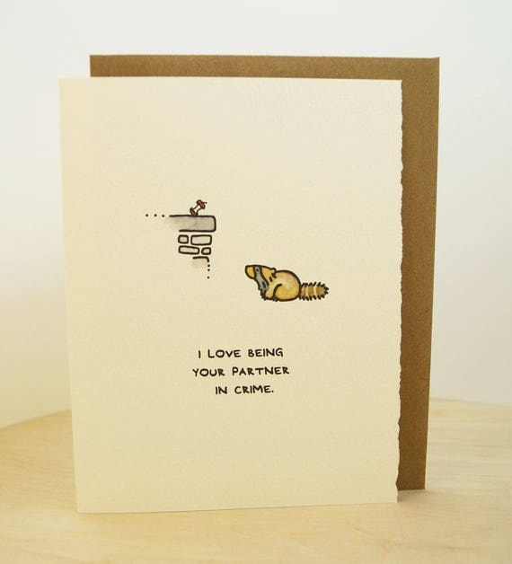 I Love Being Your Partner In Crime. Raccoon urban love greeting card cute adorable paper made in Canada stationery Valentine romance love
