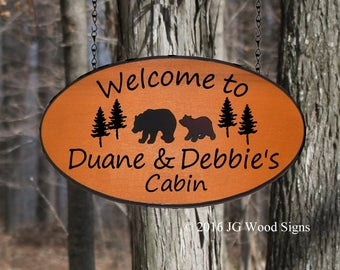 Custom Camp Sign Lg Oval Family Name Sign Cedar Bear Pine Graphic - Carved Wood Camping Sign JG Wood Signs Etsy Family RV Sign DuaneDebbie