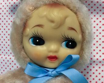 Vintage Japan Rare Plush Rubber Face Soft Vinyl Baby Doll Purse Bag Big Eyes