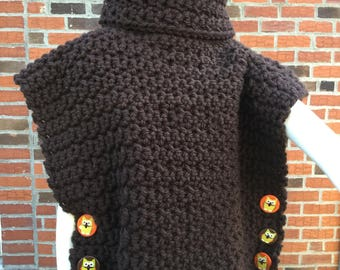 Aura Pullover in Brown with Owl Buttons - Ready to Ship FREE in the US