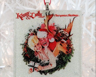 Kenny & Dolly-Once Upon a Christmas Album Cover Glass Ornament