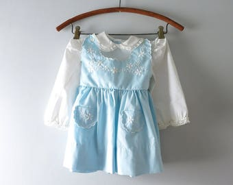 Vintage Blue Girls Dress | 1960s Pale Blue & White Embroidered Summer Dress Size 2/3