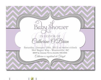 Lilac Baby Shower Invitation Girl, Girl Baby Shower Invitation Lilac,  Lilac Baby Shower Invitation Girl, Printed Invitations