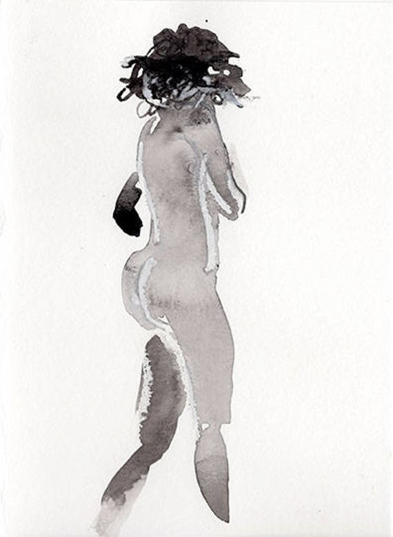 Mini Nude #38 -original watercolor painting by Gretchen Kelly