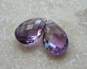 Purple Amethyst Faceted Teardrop Beads 14.5 x 9.5mm - Matched Gemstone Pair