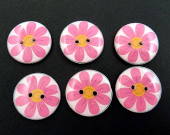 """6 Pink Flower  Buttons.  3/4"""" or 20 mm. Handmade By Me.  Washer and Dryer Safe."""