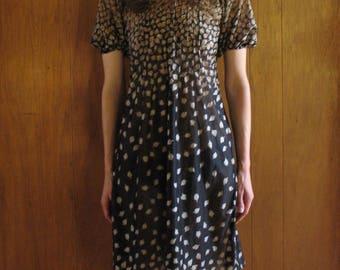 1970s sheer LEAF PRINT mini dress, xs