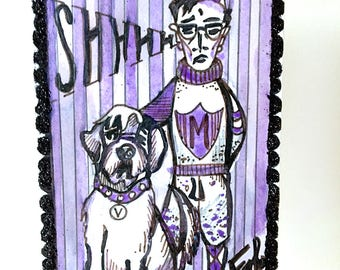 Original Hand Drawn Watercolor Pen and Ink Glitter Tarot Card Design The Fool Prep School Boy Saint Bernard Dog
