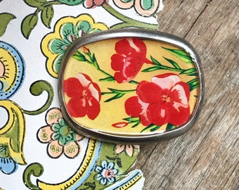 trumpet vines red florals belt buckle repurposed vintage seed label flowers pewter buckle color garden seeds blooms eco fashion