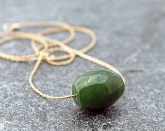 minimalist Canadian nephrite jade necklace w/ fine gold-filled chain, drum bead, barrel bead, 12th, 30th & 35th anniversaries, custom sizes