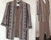 Vintage Suit Set - Pants Jacket Attached Vest - Padded Shoulders - Size 10P - Classic Apparel Ltd - Made in USA - Eighties 1980s