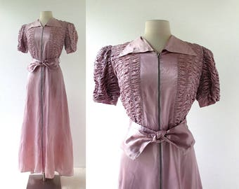 Vintage 1930s Dress | Lavender Satin Gown | 30s Gown | Small S