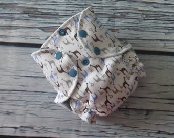 Newborn Fitted Cloth Diaper in Giraffes