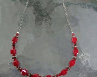 Red Swarovski crystal cube necklace