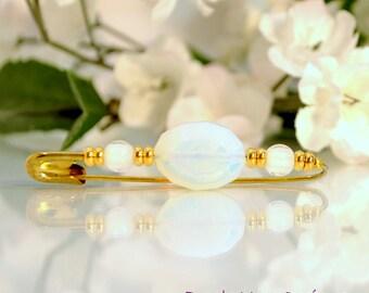 White Sarong Pin Hijab Pin White Moonstone Beaded Pin White Gold Handmade Lapel Pin Beaded Safety Pin Handmade,