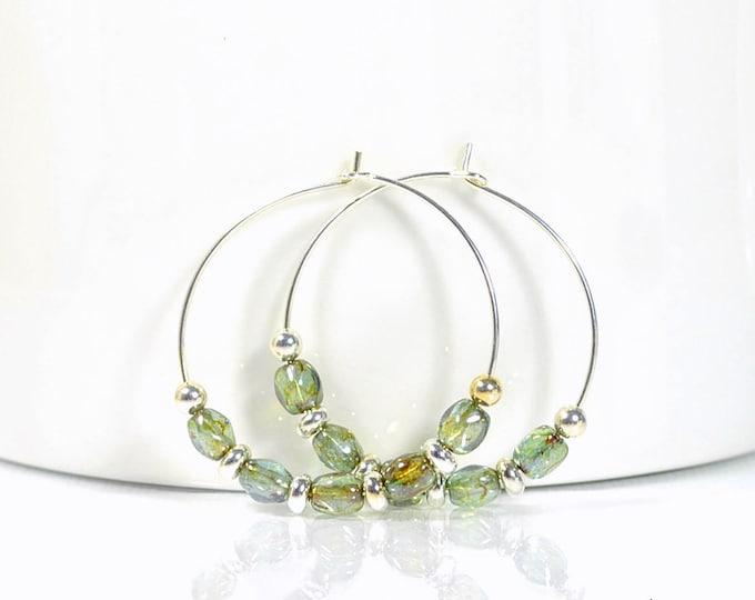Hoop Earrings Green Silver Earrings 1 inch Hoop Earring Beaded Hoop Earring Handmade Earrings Beaded Hoops