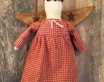 Primitive Farmhouse  Christmas Tree Topper Angel Ornament Folk Art Red Homespun Dress Pip Berry Halo
