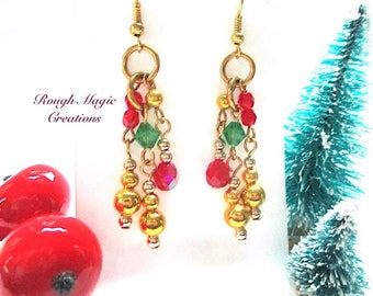 Christmas Earrings, Red Green Gold Earrings, Long Earrings, Colorful Beaded Chandelier Clusters, Holiday Jewelry, Boho Shoulder Dusters E406