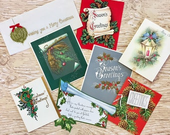 8 Vintage Greenery Christmas Cards, Christmas Evergreens, Holly, Pine Cones, Lantern, 1940s-1960s Christmas Greenery Cards