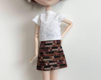 Handmade Doll Clothes fits Pullip Blythe Momoko Skipper Moxie type dolls Top Skirt P D Reneau Design (S627)