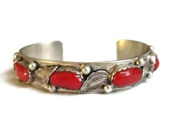 Carmelita Simplicio Zuni Pueblo Sterling Silver Leaves and Red Coral Bracelet Vintage Native American