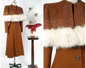 RESERVED ON LAYAWAY Vintage 1940s Coat -  Truly Rare  Evalen Original 40s Beaded Princess Coat with Attached Fox Fur Trimmed Capelet