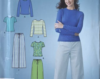 Simplicity 4023 Sewing Pattern Misses' Stretch Knit Drawstring Pants and Tee Shirt with Sleeve Variations UNCUT Factory Folds Sizes 8-18