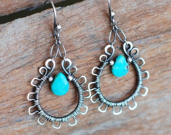 Lacy Turquoise And Sterling Silver Wire Wrapped Earrings