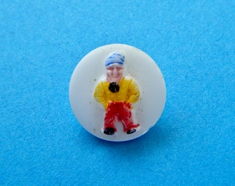 """Old Man with Blue Hat Raised On White Vintage Glass Button Hand Painted 1950's 1/2 """" Shank"""