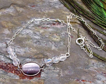 Purple Cat's Eye Anklet ~ Ankle Bracelet ~ Large Bracelet with Crystal and a Wrapped Purple Cat's Eye Cabochon ~ 9""