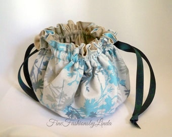Jewelry Pouch, 16 Inside Pockets, Double Row, Travel Drawstring Bag, New Small Plus Size, Beige Aqua Teal, Ready To Ship