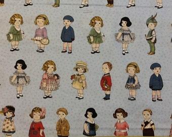 Children's Fabric, Aunt Lindy's Vintage Retro Paper Dolls Cotton Fabric by Blue Hills Fabric