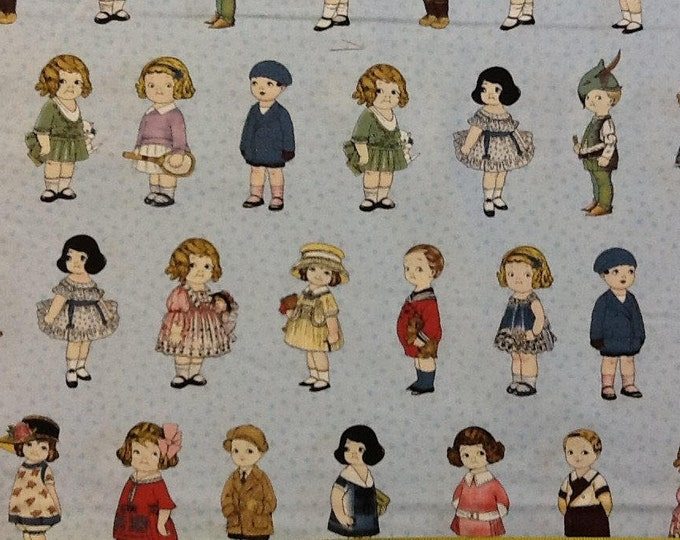 PAPERDOLL CHILDREN'S FABRIC, Aunt Lindy's Vintage Retro Paper Dolls Cotton Fabric by Blue Hills Fabric