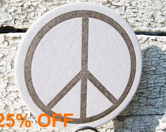 Letterpress Coasters - Peace Sign / Holiday / Birthday / Gift (Set of 8)