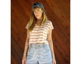 Peachy Striped V Neck Boxy Fit Tee - Vintage 90s - S/M