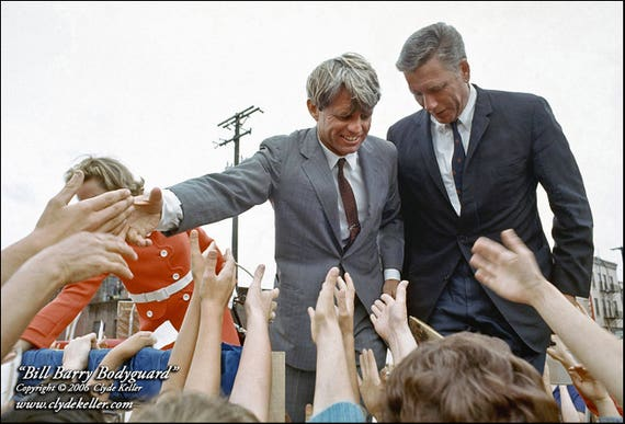BILL BARRY BODYGUARD, Robert Kennedy, Clyde Keller 1968 Photo, Signed