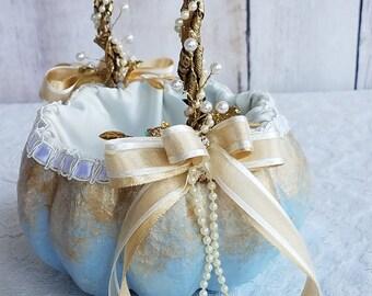 Cinderella Pumpkin Basket in Light Blue & Gold for your Fairytale Wedding
