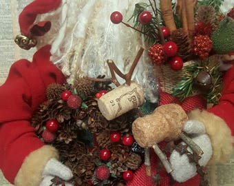 READY to SHIP-Vintage Quilt Santa Hand Made Primitive Folk Art Unique Details