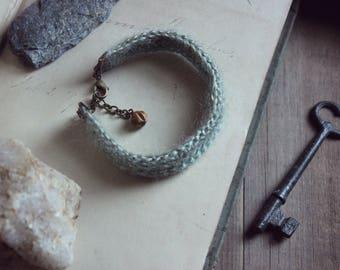 The Haefen Tearoom Crocheted Cuff Bracelet. Rustic Bohemian Pastel Hued Sandalwood Accent.