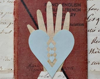 Valentine, French Document, Wirework, Love is not Lost in Translation, Papercutting, Heart in Hand, Wedding, Engagement, Anniversary, Friend