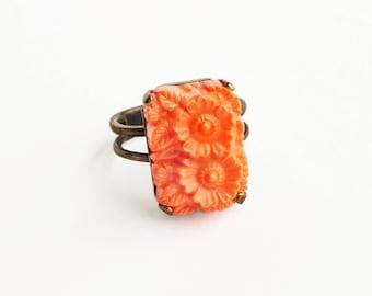 Orange Floral Glass Ring Vintage Carved Glass Ring Orange Daisy Jewelry Orange Summer Statement Ring