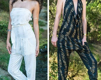 Harem pant Onesie  ~ Romper ~ Playa Fashion ~ Women's Burning Man Jumpsuit ~ Hooping Clothes Convertible Romper turns into pants