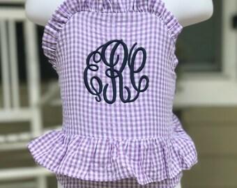 Girls Purple Gingham Monogrammed Swimsuit